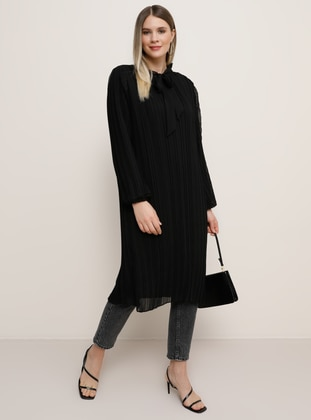 Black - Crew neck - Plus Size Evening Tunics