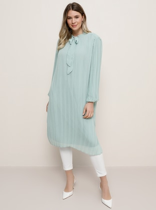 Sea-green - Crew neck - Plus Size Tunic