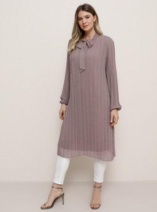 Lilac - Purple - Crew neck - Plus Size Evening Tunics - Alia