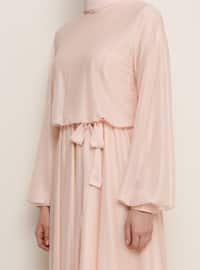 Salmon - Crew neck - Muslim Evening Dress