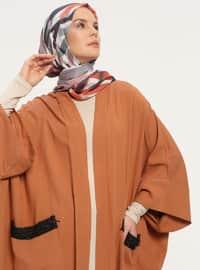 Terra Cotta - Unlined - Shawl Collar -  - Abaya
