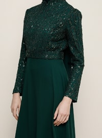 Emerald - Crew neck - Muslim Evening Dress