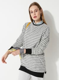 Crew neck - Checkered - Ecru - Black - Sweat-shirt