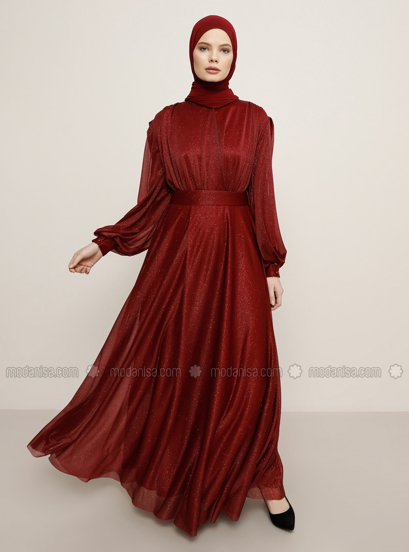 Maroon - Crew neck - Muslim Evening Dress