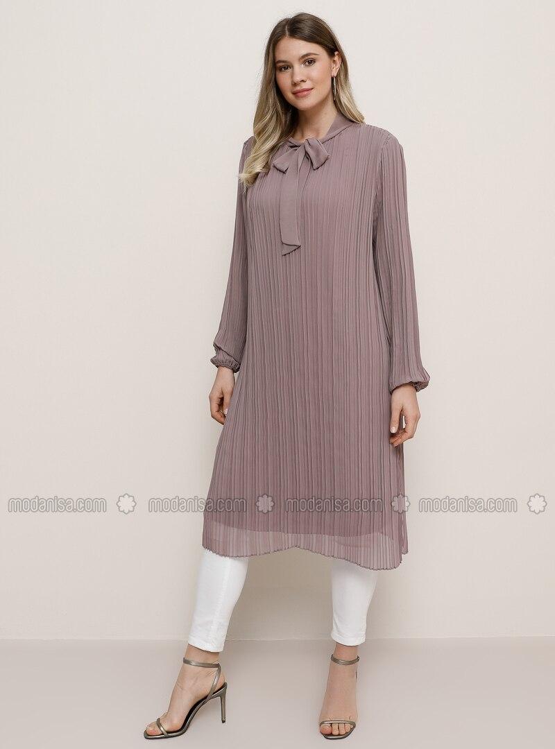 lila - purpur - stehkragen - festliche tuniken große größen