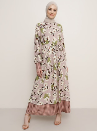 Powder - Floral - Round Collar - Dress