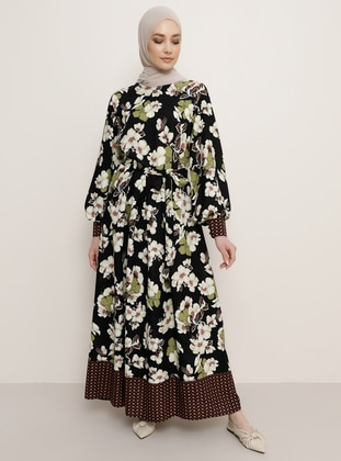 Black - Floral - Crew neck - Dress