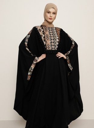 Black - Ethnic - Unlined - Crew neck - Abaya - Refka