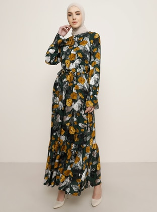Emerald - Floral - Crew neck - Unlined - Viscose - Dress