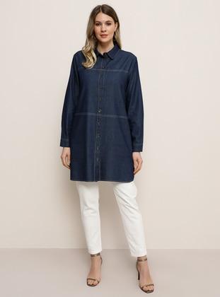 Navy Blue - Blue - Point Collar - Denim - Plus Size Tunic