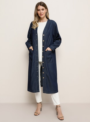 Navy Blue - Blue - Unlined - V neck Collar - Denim - Plus Size Coat - Alia