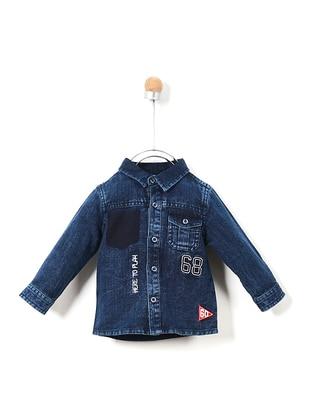 Point Collar - Denim - Cotton - Navy Blue - Boys` Shirt