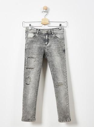 Cotton - Gray - Boys` Pants