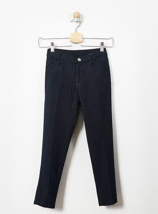 Stripe - Viscose - Navy Blue - Boys` Pants