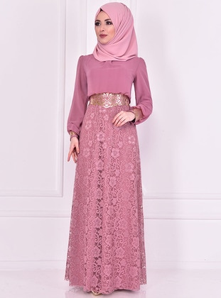 Dusty Rose - Crew neck - Fully Lined - Dress - AYŞE MELEK TASARIM