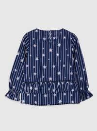 Navy Blue - Girls` Blouse