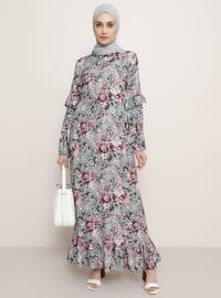 Bej - Gri - Çiçekli - Yuvarlak yakalı - Astarsız kumaş - Viskon - Elbise