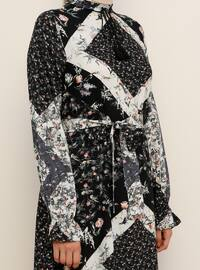 Black - Floral - Crew neck - Unlined - Viscose - Dress