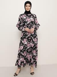 Siyah - Çiçekli - Yuvarlak yakalı - Astarsız kumaş - Viskon - Elbise