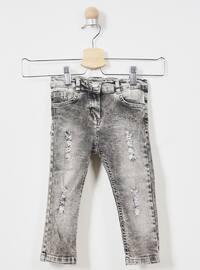 Cotton - Unlined - Gray - Girls` Pants