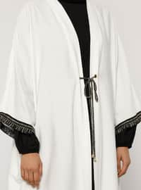 White - Unlined - V neck Collar - Abaya