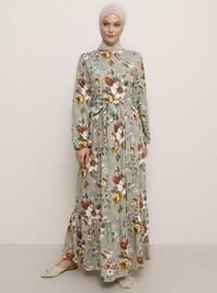 Haki - Çiçekli - Yuvarlak yakalı - Astarsız - Viskon - Elbise