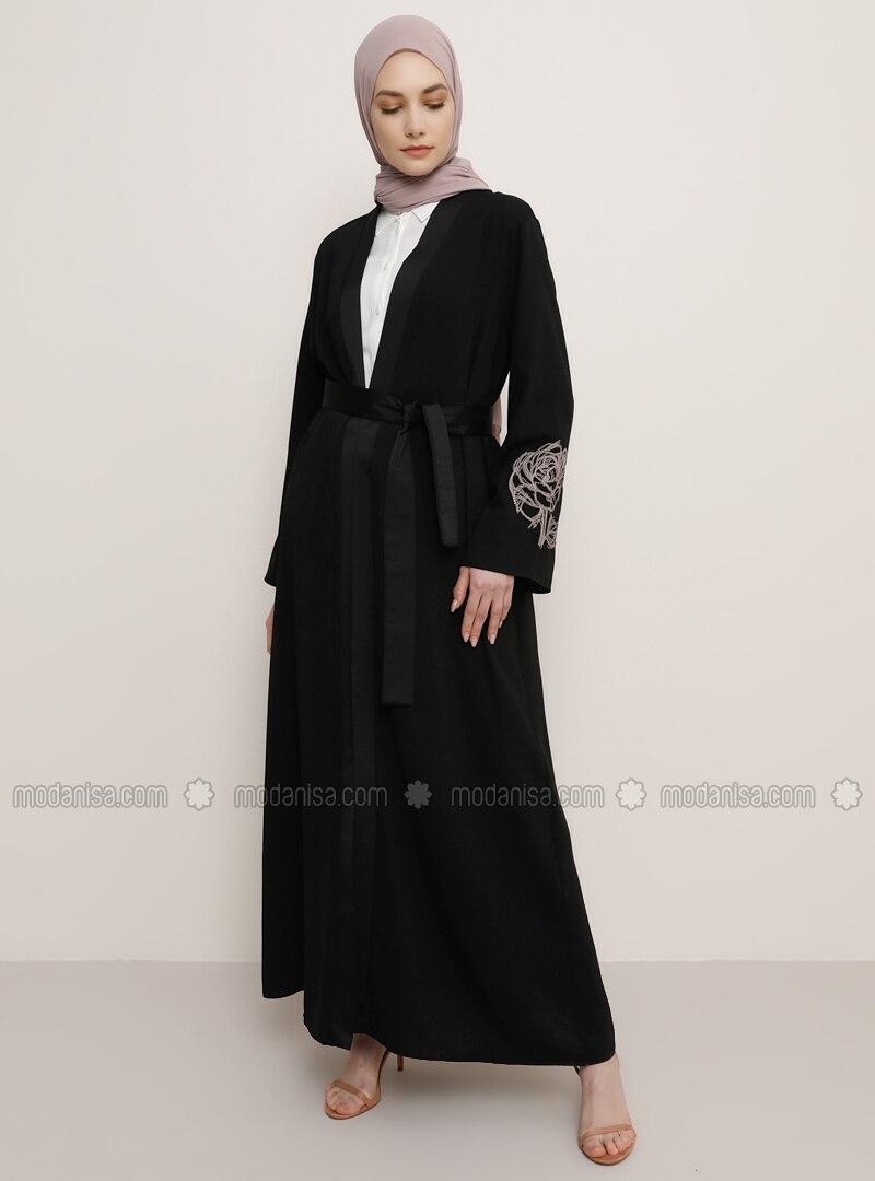 Black - V neck Collar - Abaya