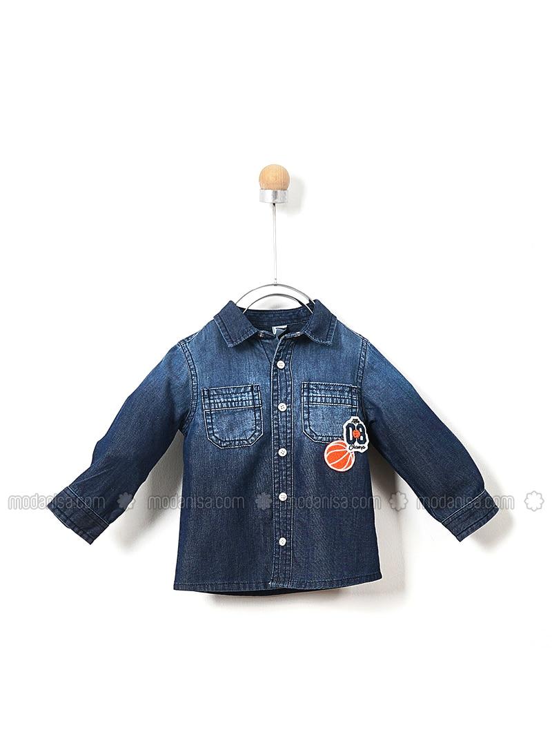 Point Collar - Denim - - Navy Blue - Boys` Shirt