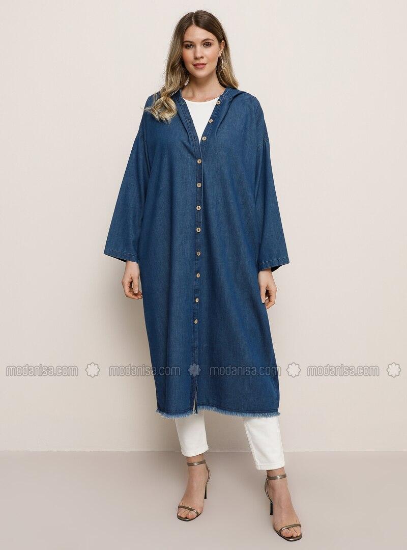 Blue - Unlined - Denim -  - Plus Size Coat