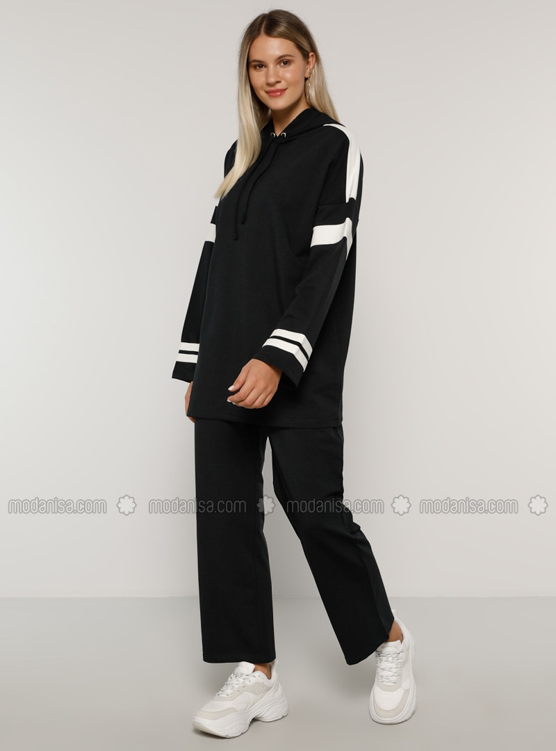 Ecru - Navy Blue -  - Plus Size Tracksuit Sets