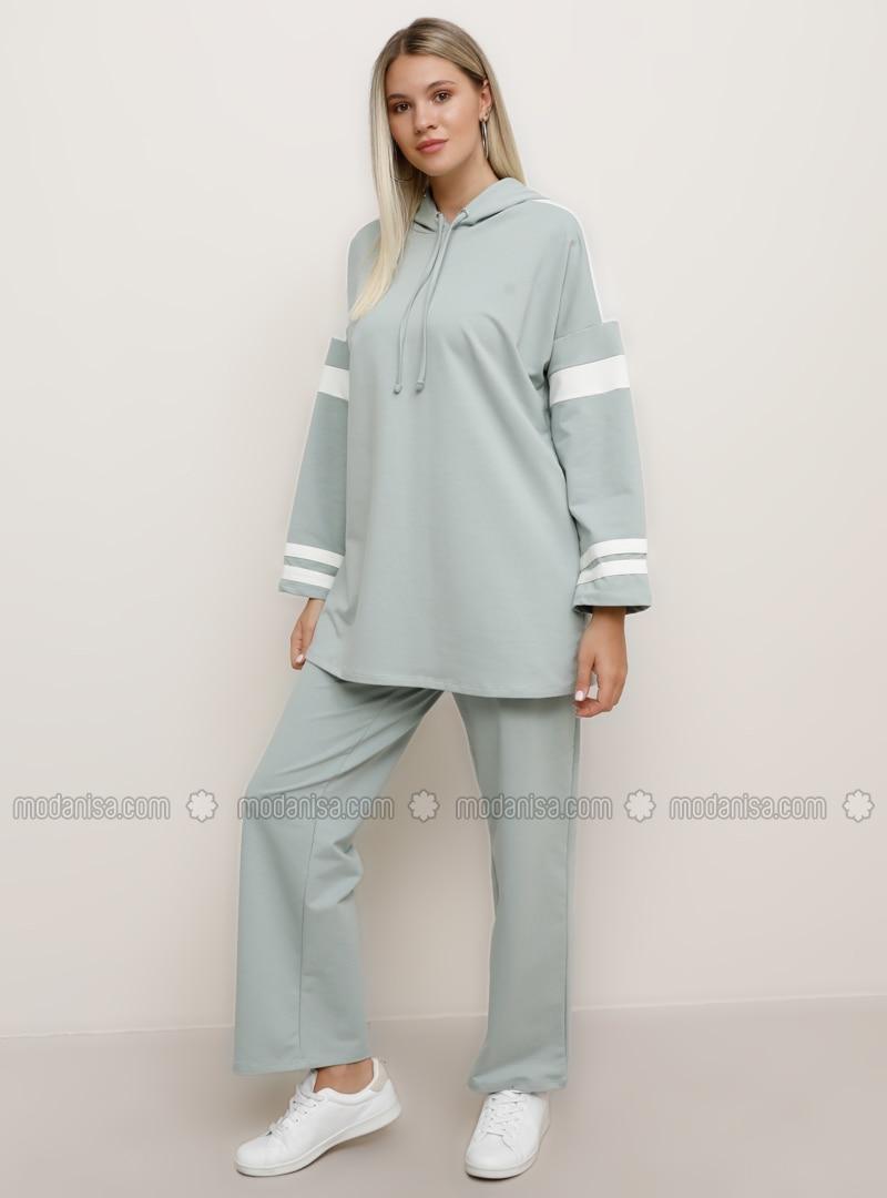 Ecru - Green - Plus Size Tracksuit Sets