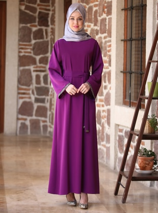 Purple - Crew neck - Unlined - Crepe - Dress - TULÛGİYİM