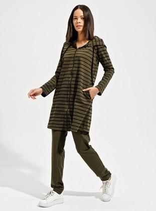 Khaki - Khaki - Stripe - Unlined -  - Suit