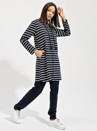 Navy Blue - Navy Blue - Stripe - Unlined -  - Suit