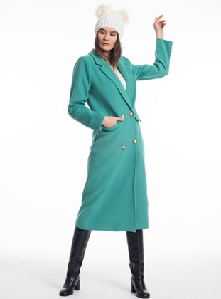 Mint - Fully Lined - V neck Collar - Acrylic - Wool Blend - Coat
