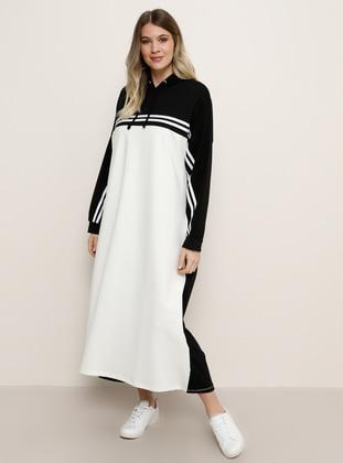 White - Ecru - Black - Stripe - Unlined - Plus Size Dress - Alia