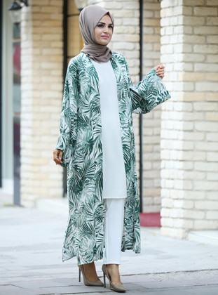 Green - Floral - Shawl Collar - Unlined -  - Viscose - Poncho