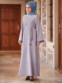 Gri - Yuvarlak yakalı - Astarsız kumaş - Krep - Elbise