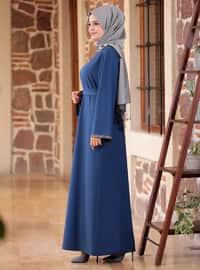 İndigo - Yuvarlak yakalı - Astarsız kumaş - Krep - Elbise