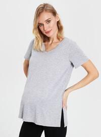Gray - Maternity Blouses Shirts