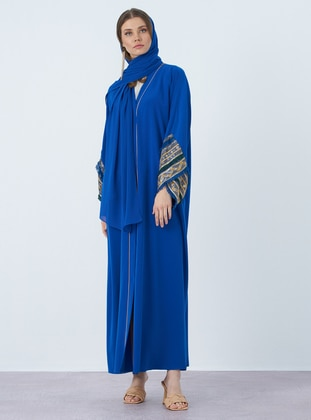 Blue - V neck Collar - Abaya