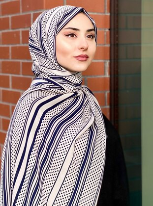 Multi - Cream - Printed - Crepe - Shawl