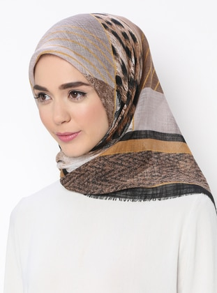 Gold - Black - Printed - Scarf