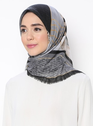 Baby Blue - Black - Printed - Scarf