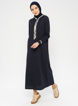 Navy Blue - Unlined -  - Dress