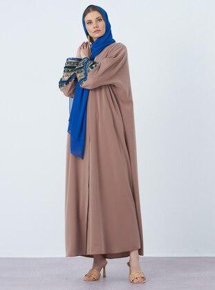Beige - Unlined - V neck Collar - Crepe - Abaya