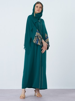 Green - Unlined - V neck Collar - Crepe - Abaya