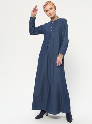 Navy Blue - Crew neck - Unlined - Denim - Cotton -  - Dress