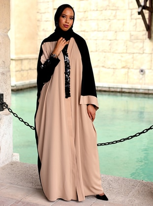 Beige - Black - Unlined - V neck Collar - Plus Size Evening Abaya