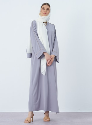 Blue - Unlined - V neck Collar - Crepe - Abaya